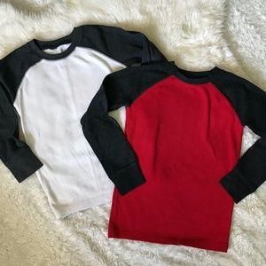 Lot/Bundle 2 Boys Thermal  Baseball Tees